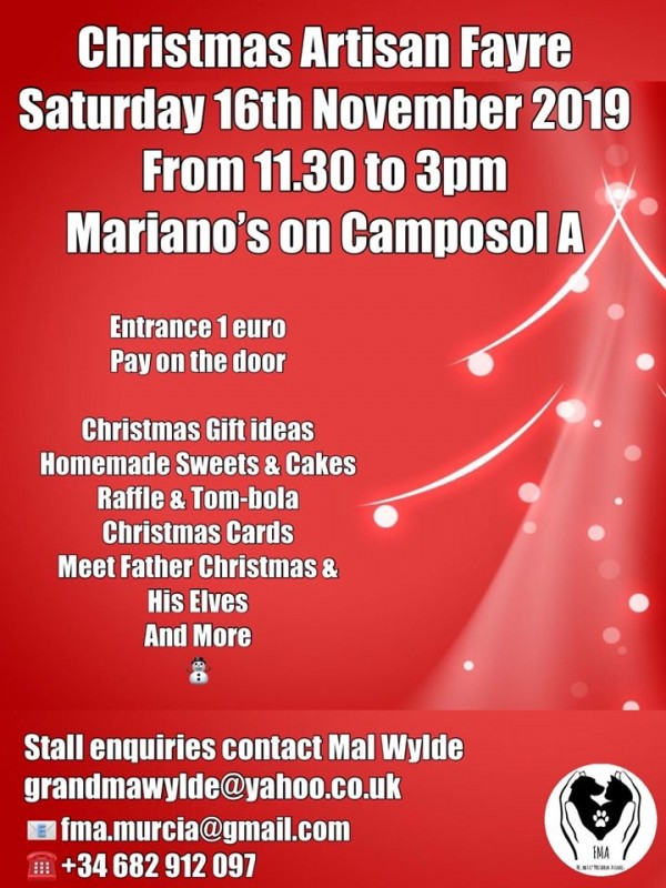 <span style='color:#780948'>ARCHIVED</span> - Saturday 16th November Christmas artisan fair on Camposol