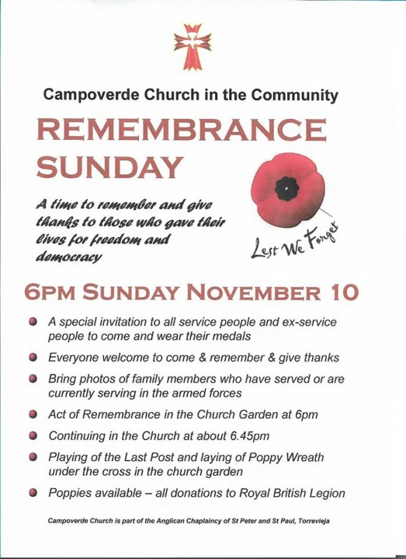<span style='color:#780948'>ARCHIVED</span> - Sunday 10th November Remembrance Sunday at Campoverde church
