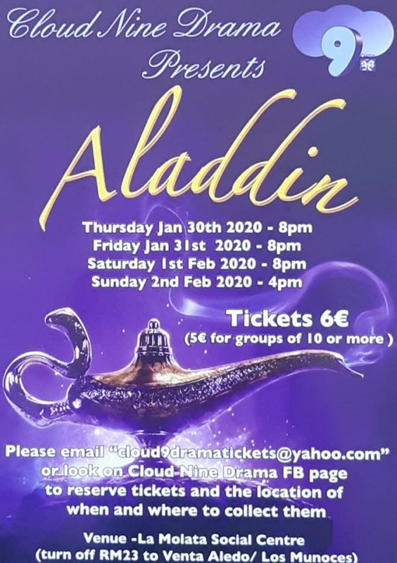 Tickets go on sale Thursday for the annual Cloud Nine pantomime; Aladdin