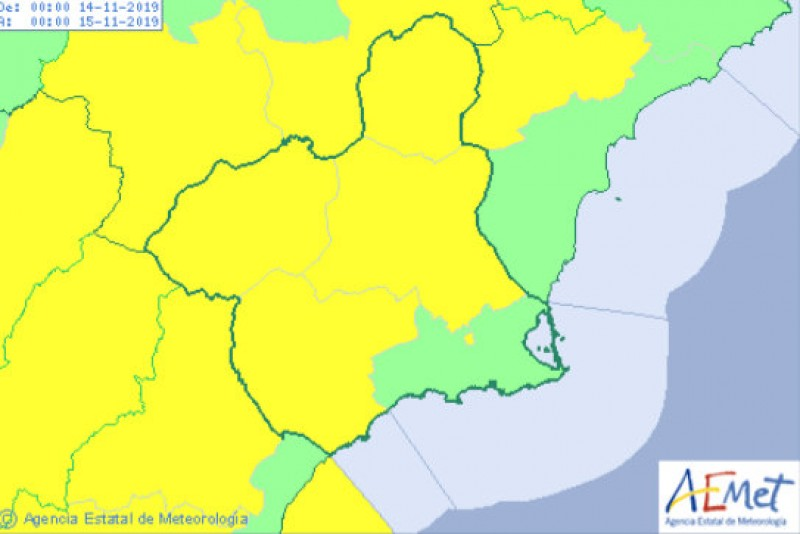 <span style='color:#780948'>ARCHIVED</span> - Up to 24 degrees in Murcia on Wednesday but yellow alerts for gale-force winds return
