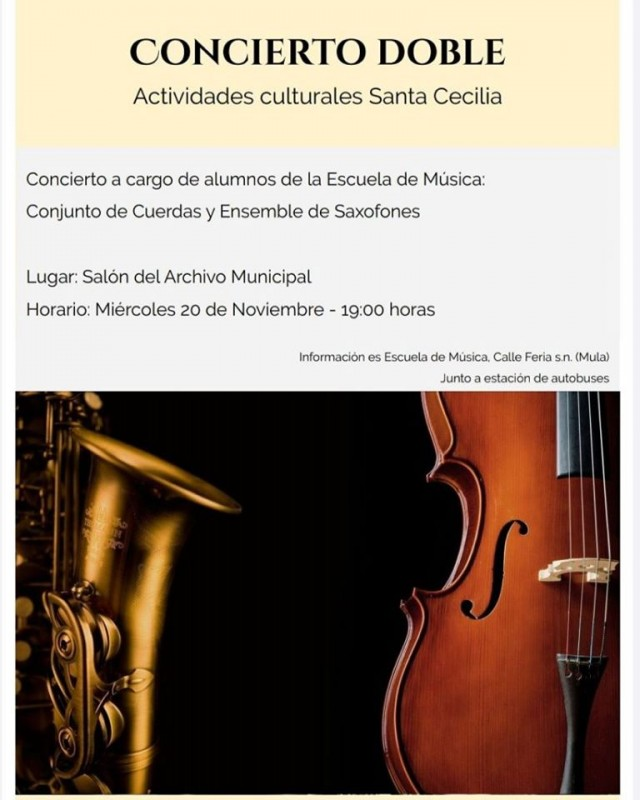 <span style='color:#780948'>ARCHIVED</span> - Wednesday 20th November Free concert for Saint Cecilia in Mula
