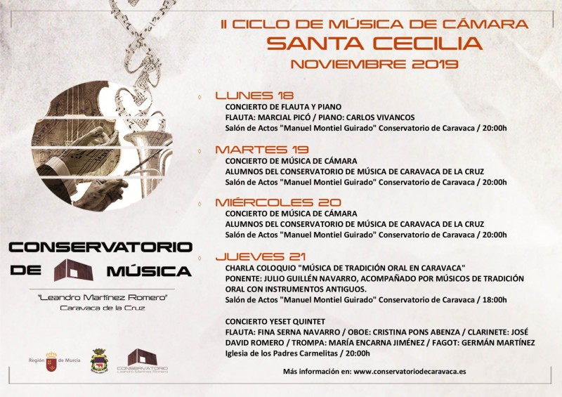 <span style='color:#780948'>ARCHIVED</span> - 18th to 21st November 2019 Free concerts in Caravaca de la Cruz for Saint Cecilia