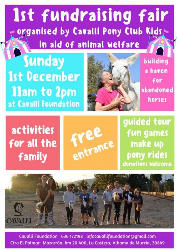 <span style='color:#780948'>ARCHIVED</span> - Sunday 1st December Fundraising Xmas fair for the Cavalli Foundation in Alhama de Murcia