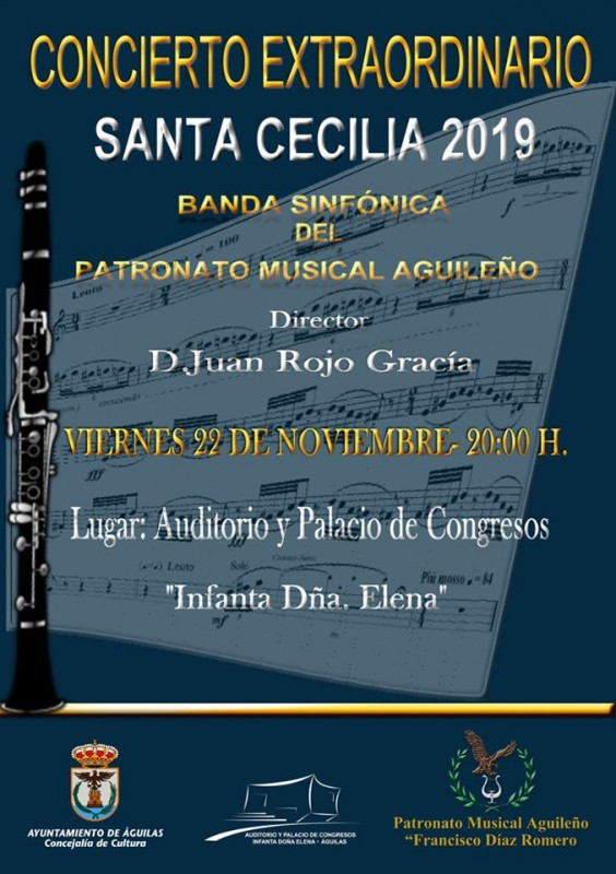 <span style='color:#780948'>ARCHIVED</span> - Friday 22nd November Águilas Free concert for Saint Cecilia