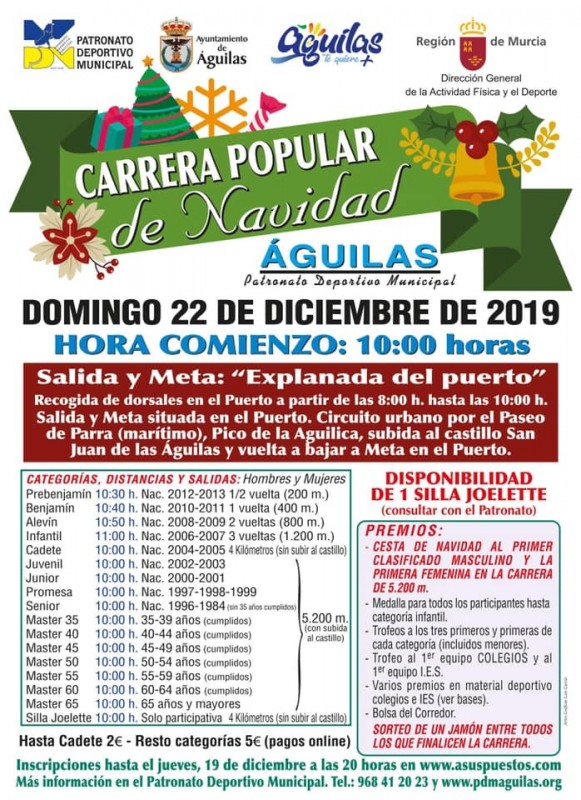 <span style='color:#780948'>ARCHIVED</span> - Sunday 22nd December 2019 Águilas Christmas Urban mile running race
