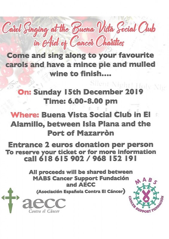 <span style='color:#780948'>ARCHIVED</span> - Sunday 15th December Carol singing for cancer in the Puerto de Mazarrón