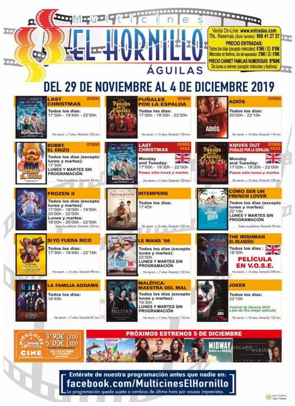 <span style='color:#780948'>ARCHIVED</span> - Tuesday 3rd December ENGLISH language cinema in Águilas