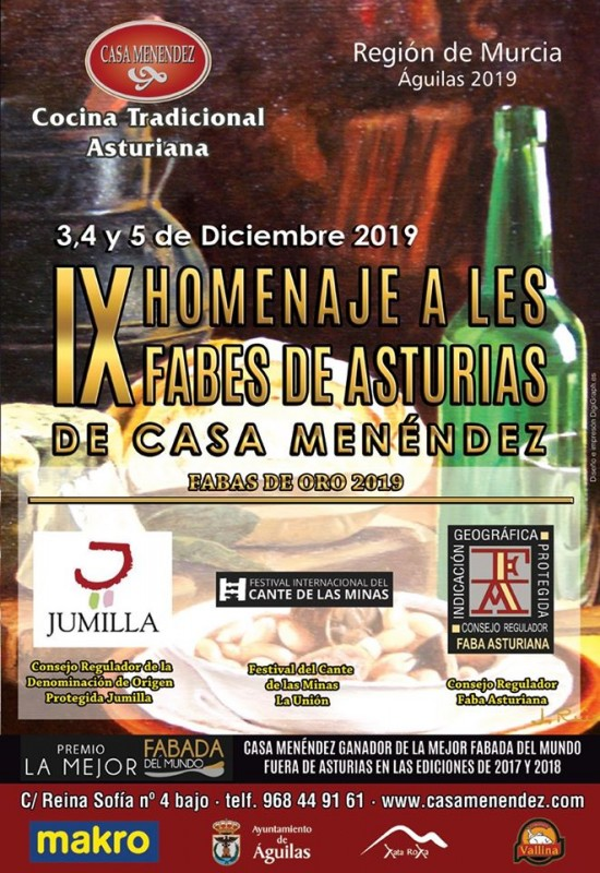 3rd, 4th and 5th December Águilas: A celebration of Asturian cookery at Casa Menendez