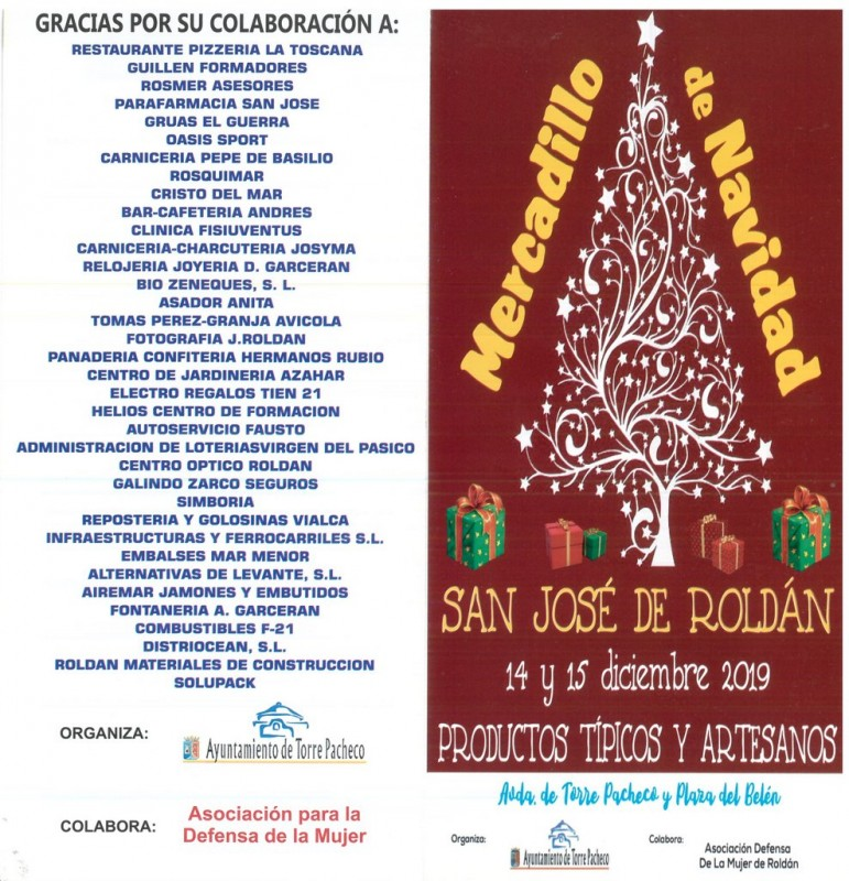 14th and 15th December Christmas market in Roldán