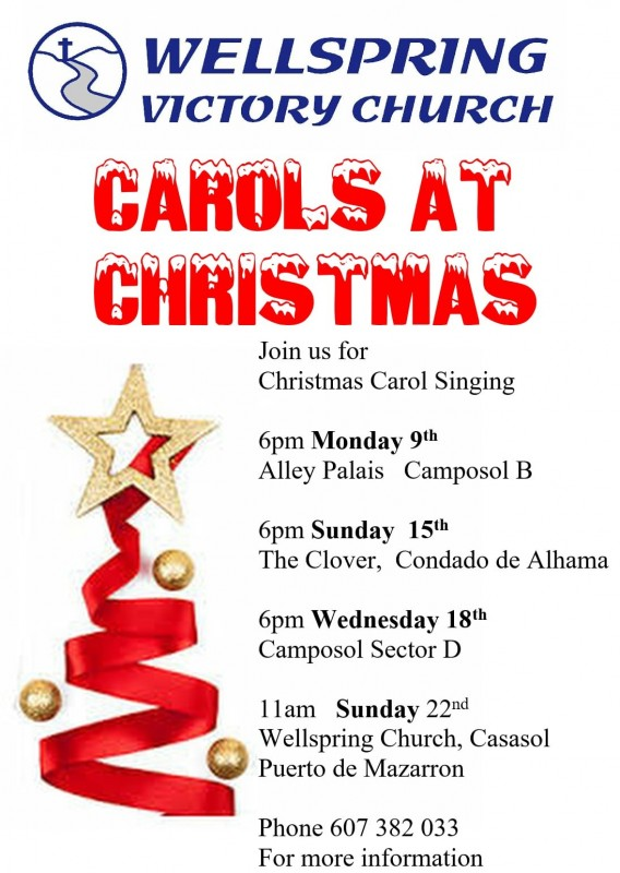 15th, 18th and 22nd December Carol singing with the Wellspring Victory Church