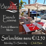 La Caravelle, French restaurant in the main marina of Puerto de Mazarron