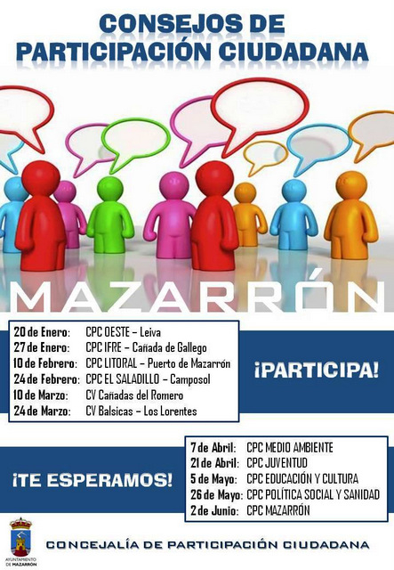 <span style='color:#780948'>ARCHIVED</span> - Citizen participation meetings, Mazarrón municipality