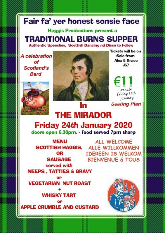 Friday 24th January Burns Night at Caravanning La Manga