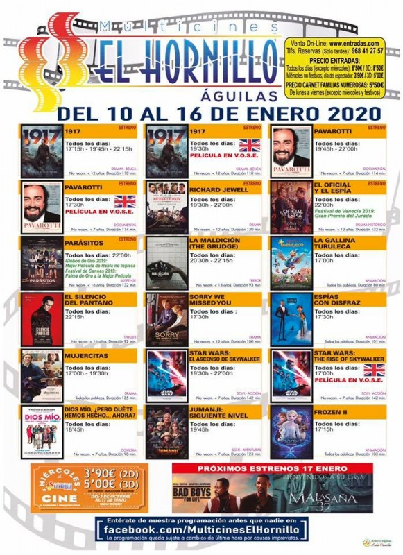 <span style='color:#780948'>ARCHIVED</span> - 10th to 16th January English original cinema at the Águilas Multicine daily