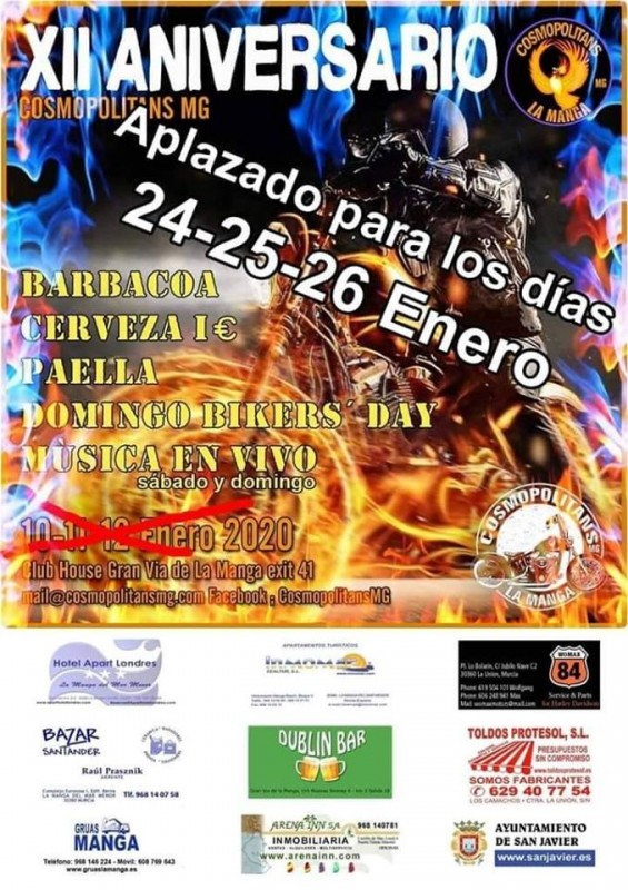 <span style='color:#780948'>ARCHIVED</span> - 24th to 26th January Cosmopolitans bikers 12th anniversary bash, La Manga del Mar Menor