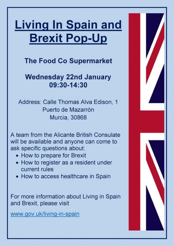 <span style='color:#780948'>ARCHIVED</span> - 22nd January British Consul in the Puerto de Mazarron to answer Brexit queries