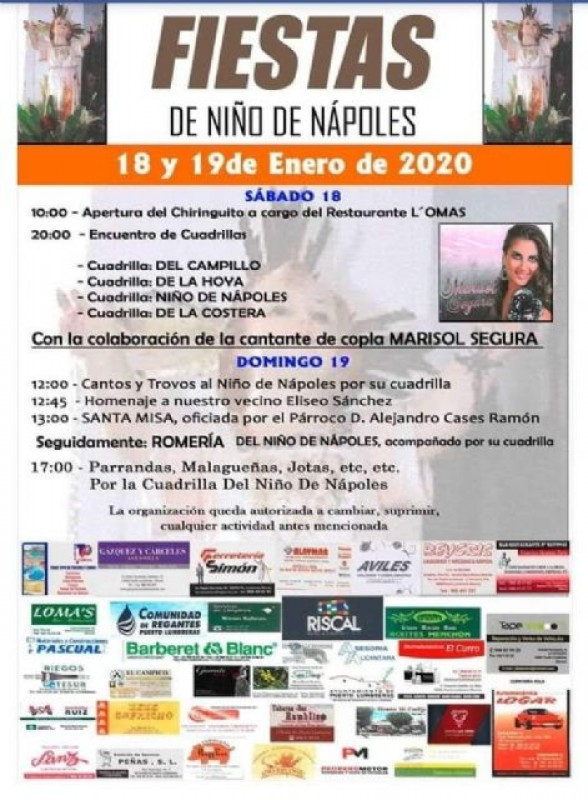 <span style='color:#780948'>ARCHIVED</span> - 18th and 19th January 2020 Puerto Lumbreras: Fiestas del Niño de Nápoles