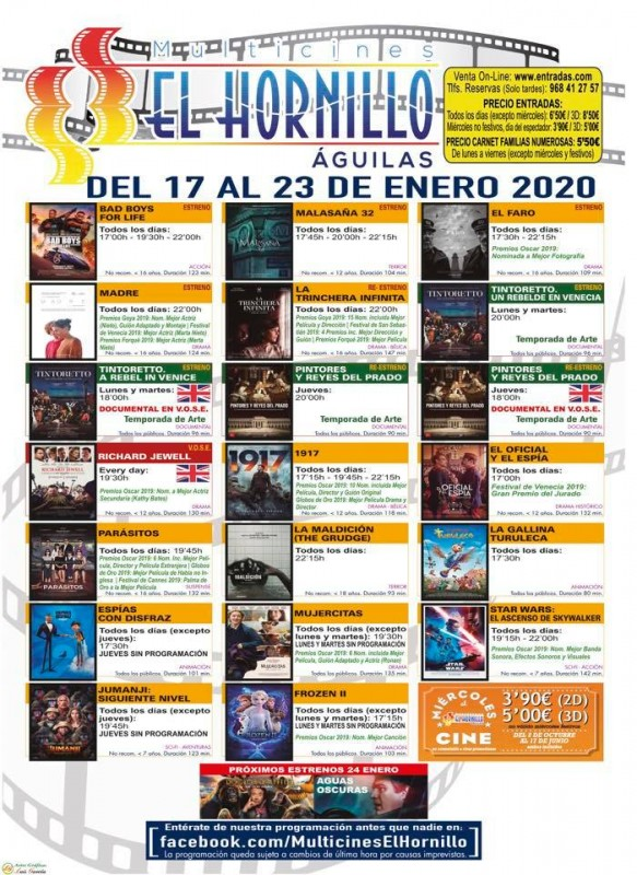 <span style='color:#780948'>ARCHIVED</span> - 17th to 23rd January Águilas English language cinema