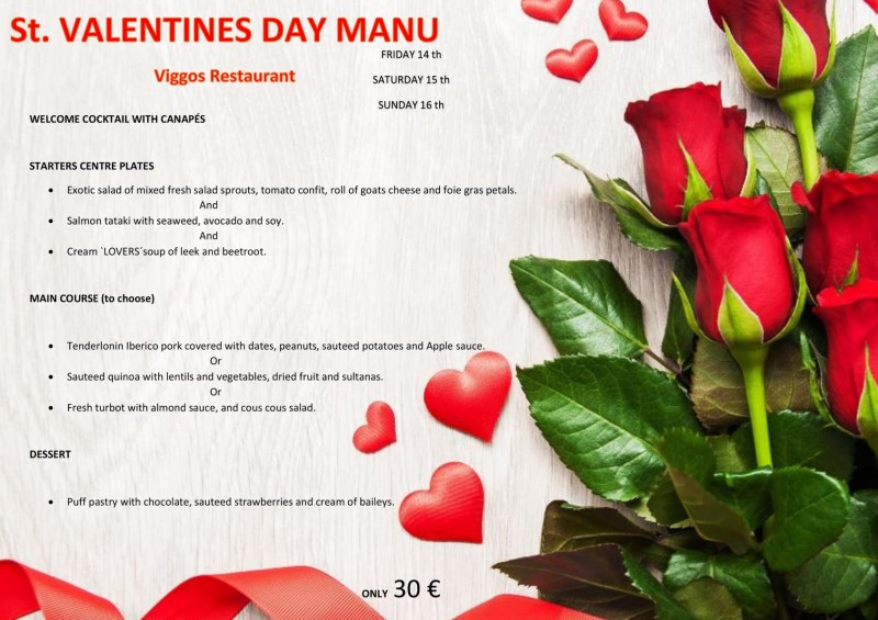 <span style='color:#780948'>ARCHIVED</span> - 14th to 16th February Valentines menu at Viggos Puerto de Mazarrón