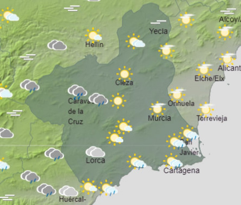 <span style='color:#780948'>ARCHIVED</span> - Rain dying out in Murcia on Wednesday as sunshine returns to the Costa Cálida