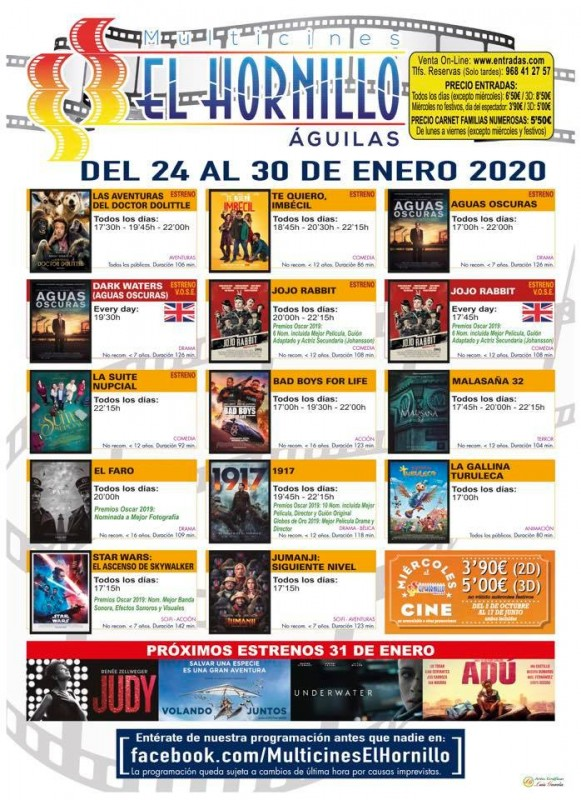 <span style='color:#780948'>ARCHIVED</span> - 24th to 30th January Águilas English language cinema