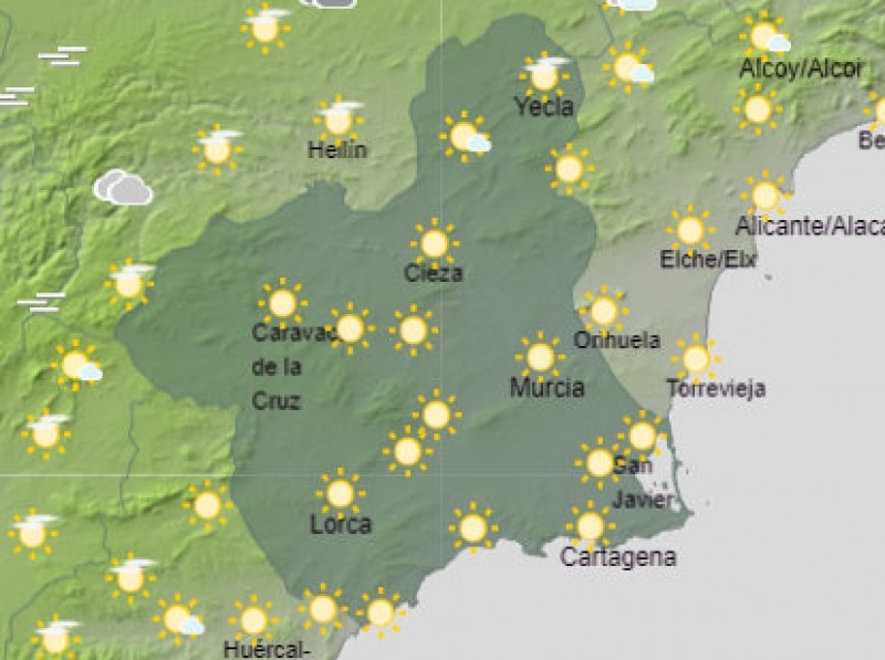 <span style='color:#780948'>ARCHIVED</span> - Temperatures to top 20 degrees in Murcia on Tuesday and Wednesday