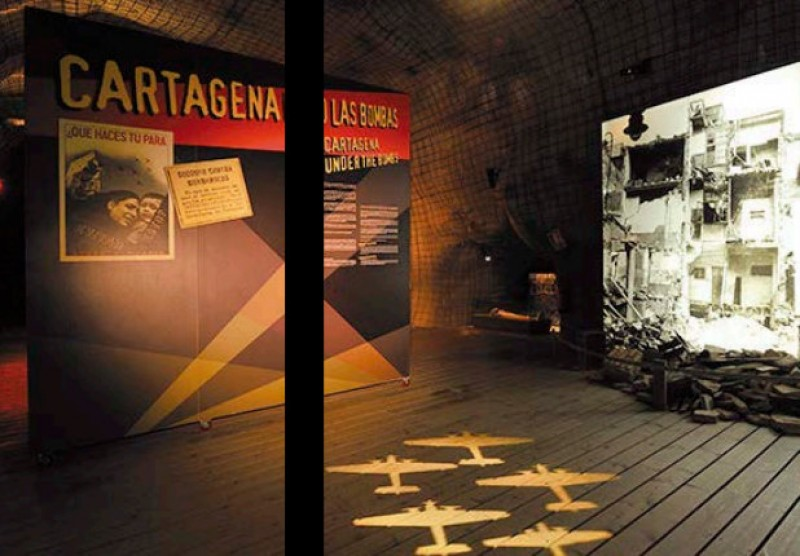 The Civil War air raid shelter museum in Cartagena
