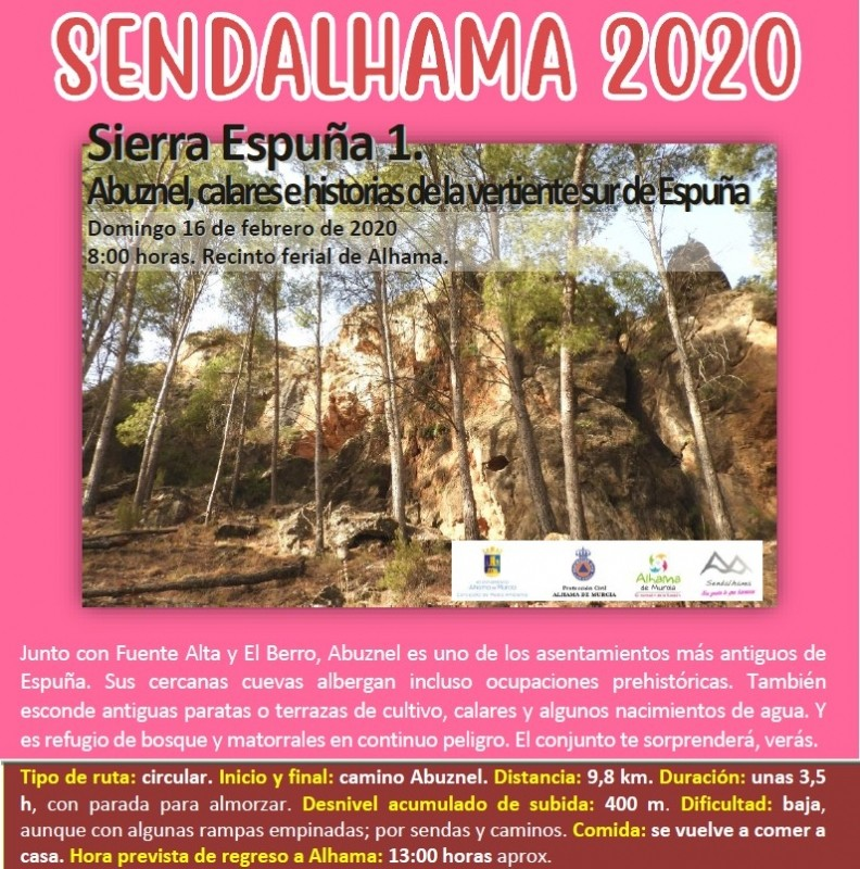 <span style='color:#780948'>ARCHIVED</span> - Sunday 16th February the first in the new season of Sendalhama guided routes from Alhama de Murcia