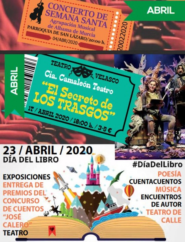 Cultural programme for April 2020 in Alhama de Murcia