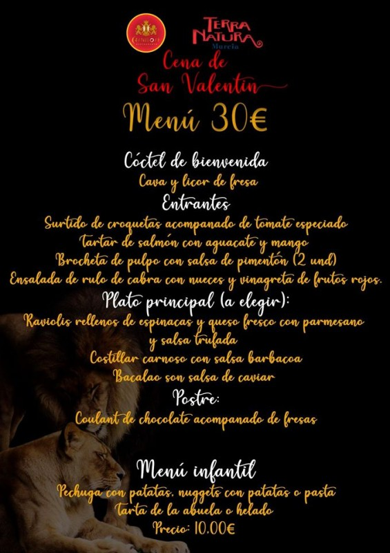 <span style='color:#780948'>ARCHIVED</span> - 14th February Valentines supper with the lions at Terra Natura Murcia