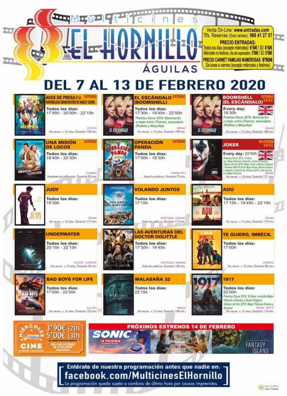 <span style='color:#780948'>ARCHIVED</span> - 7th to 13th February Águilas English language cinema