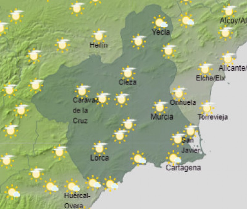 <span style='color:#780948'>ARCHIVED</span> - Murcia expected to be the warmest place in Spain on Tuesday with at least 25 degrees