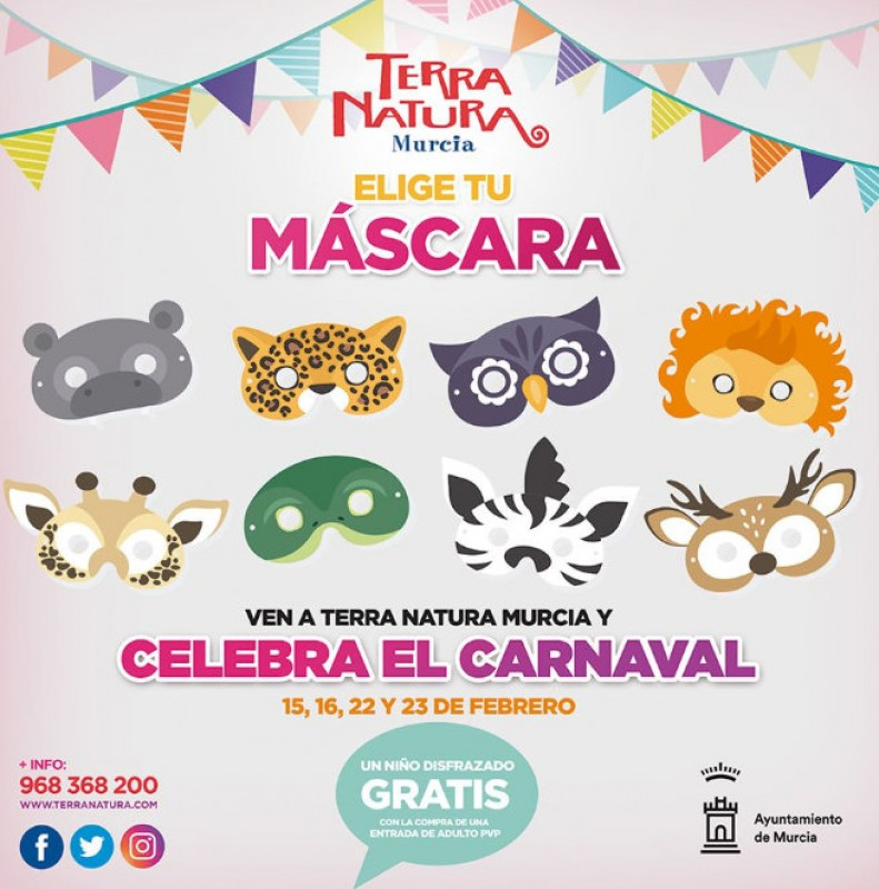 15th to 23rd February, free weekend Carnival activities for children at Terra Natura Murcia wildlife park