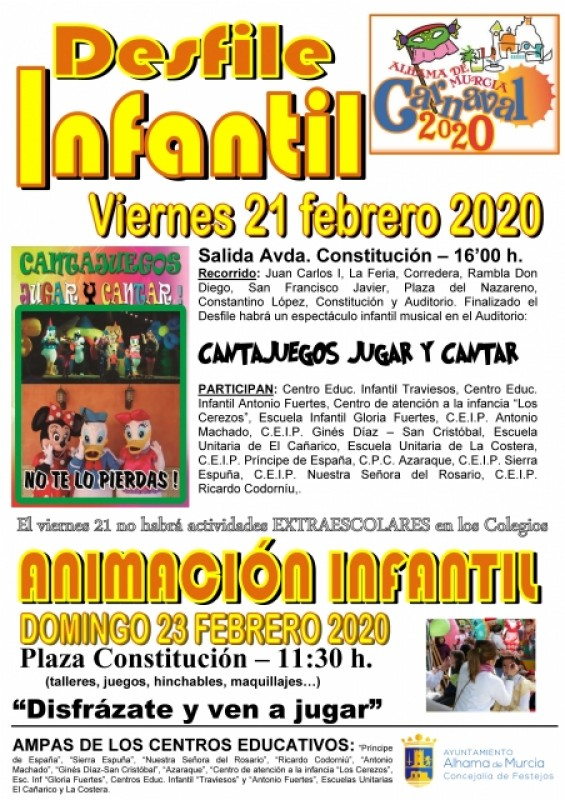 21st, 23rd February parade and fun for children: Alhama de Murcia Carnival