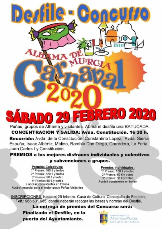Saturday 29th February adult Carnival parade in Alhama de Murcia