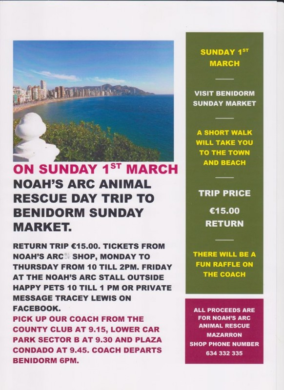 Sunday 1st March Daytrip to Benidorm: Noah's Arc Animal Rescue