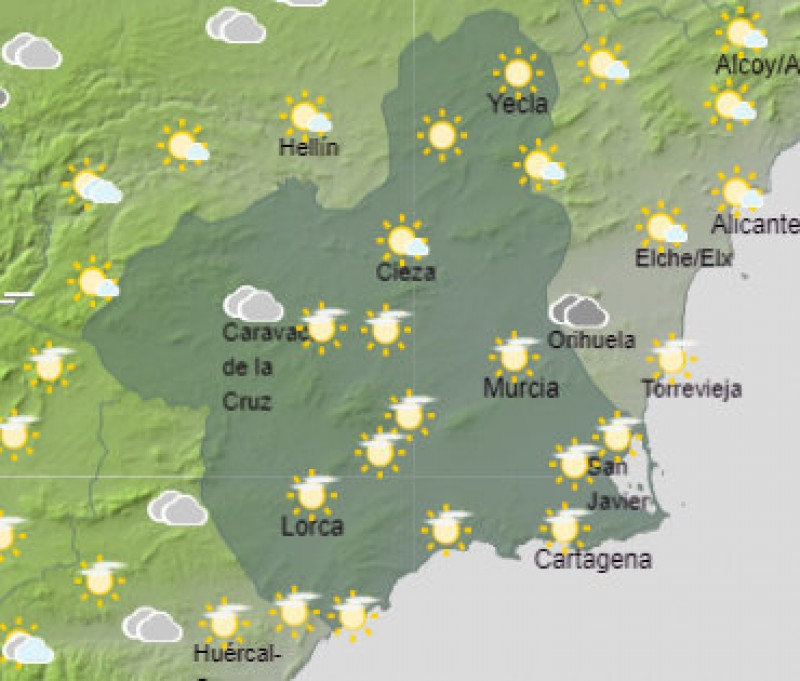 <span style='color:#780948'>ARCHIVED</span> - Top temperatures in the low 20s this weekend in the Costa Cálida