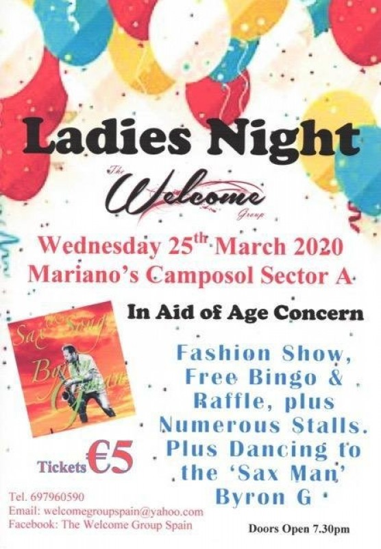 25th March Welcome Group Ladies Night Camposol