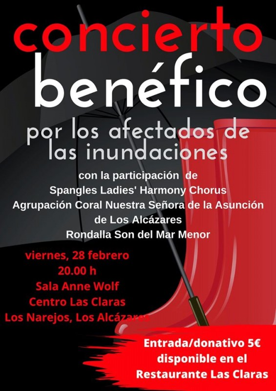 Friday 28th February benefit concert for those affected by Los Alcázares flooding