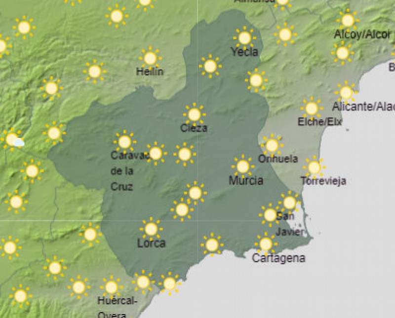 Bright sunshine over the weekend as Costa Cálida temperatures remain in the 20s
