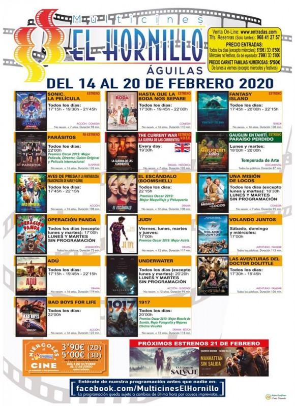 <span style='color:#780948'>ARCHIVED</span> - 14th to 20th February English language cinema in Águilas