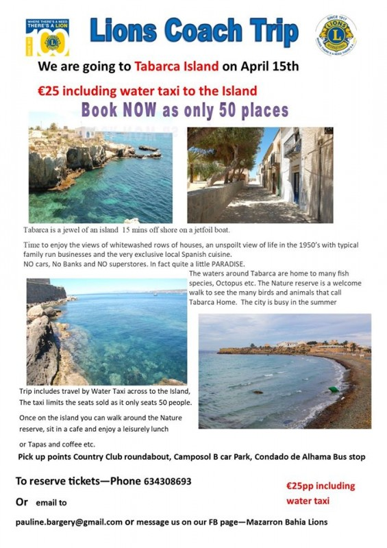 15th April Mazarrón Bahia Lions coachtrip to Tabarca Island