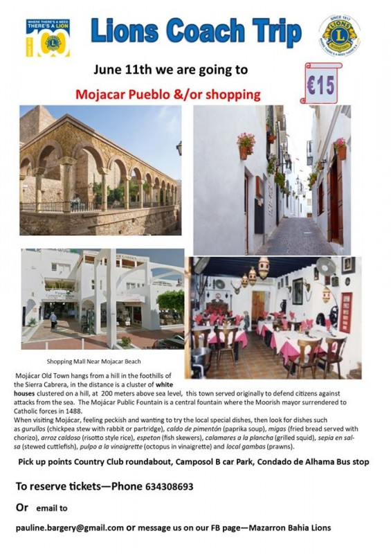 <span style='color:#780948'>ARCHIVED</span> - June 11th Mazarrón Bahia Lions coachtrip to Mojacar Pueblo