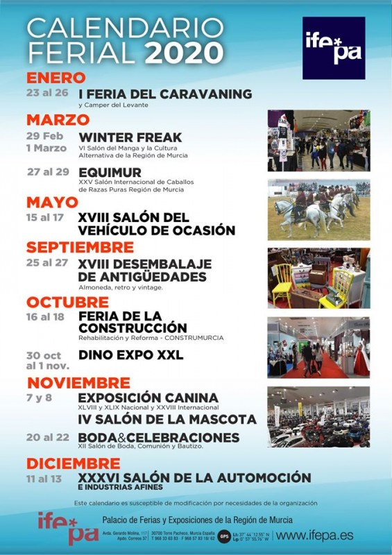 <span style='color:#780948'>ARCHIVED</span> - Calendar of shows at the IFEPA fairground Torre Pacheco for 2020