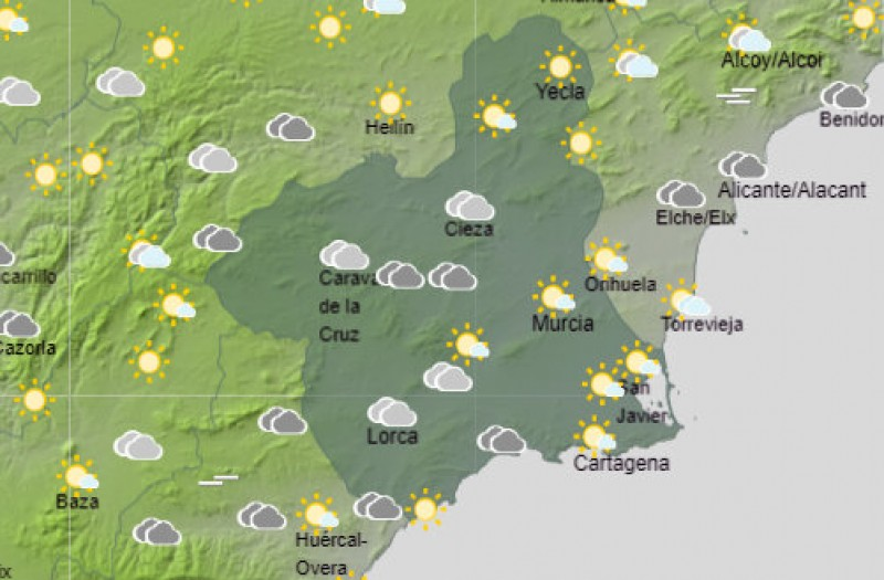 <span style='color:#780948'>ARCHIVED</span> - Rain dying out in the Costa Cálida as temperatures begin to rise again