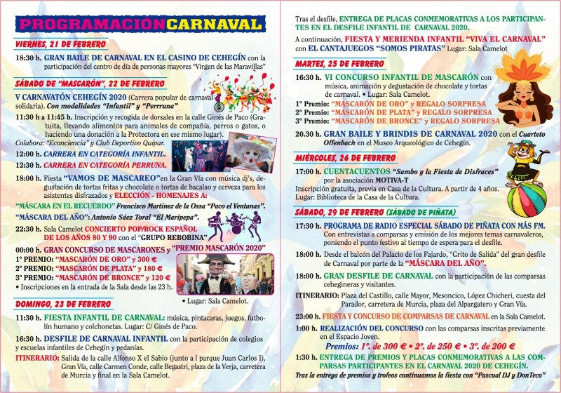 <span style='color:#780948'>ARCHIVED</span> - 22nd to 29th February Carnival in Cehegín