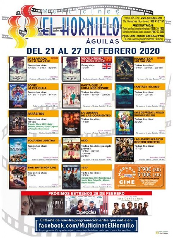 <span style='color:#780948'>ARCHIVED</span> - 21st to 27th February English language cinema in Águilas