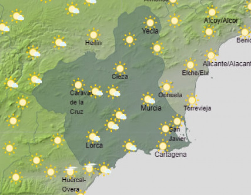 <span style='color:#780948'>ARCHIVED</span> - Cooler on Wednesday but still up to 24 degrees in Murcia