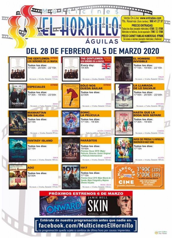 <span style='color:#780948'>ARCHIVED</span> - 28th February to 5th March English language cinema in Águilas