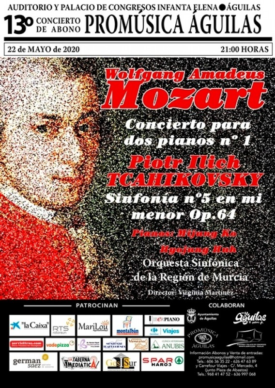 22nd May Mozart and Tchaikovsky at the Águilas Auditorium